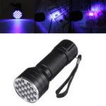Оригинал              21 светодиодов uv395 Портативный алюминиевый UV Ультрафиолетовый фонарик Мини Фиолетовый Факел Детектор Валюты Лампа Blacklight Light