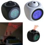 Оригинал              Цифровой будильник Часы Настенный потолок LED Температура проекции Многофункциональный с голосовыми разговорами
