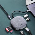 Оригинал              Адаптер док-станции концентратора Baseus Cloth Fabric 7-в-1 USB-C с 2 * USB 3.0 / Type-C зарядкой PD / 4K HD Дисплей Видеовыход / RJ45 Интернет-порт / Устройства чтения