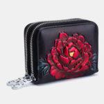 Оригинал              Женская роза Rfid Antimagnetic Натуральная Кожа 12 слотов для карт молнии короткий кошелек