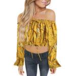 Оригинал              Bohemia Блуза с длинным рукавом и цветочным принтом с открытыми плечами