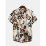 Оригинал              Mens Hawaiian с коротким рукавом Летний цветочный принт Пляжный Рубашка