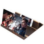 Оригинал              12-дюймовый HD 3D экранной лупы Woodn Grain Phone Увеличить в 3-4 раза Складной экран для видеофильмов Усилитель Ленивые настольные крепления для всех