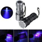 Оригинал              21 светодиод 400 нм Алюминий UV Ультрафиолетовый фонарик Мини-фиолетовый фонарик Blacklight Детектор валюты Лампа