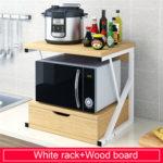 Оригинал              2-уровневая кухонная стойка для микроволновой печи с выдвижным ящиком Домашняя полка для хранения Кухонная настольная полка для столов Ор