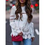Оригинал              Летняя кружевная блузка с длинными рукавами и длинными рукавами