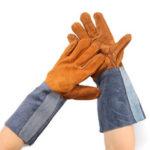 Оригинал              Сварка Перчатки Сварщики Работа Soft Коровья кожа Plus Перчатки для защиты рук Инструмент