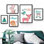 Оригинал              Nordic Безрамное Мультфильм Животных Медведи Розовый Оленей Плакат Wall Art Холст Картины Детские Картины Для Ребенка Детская Комната Декор