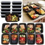 Оригинал              10шт 16 унц. Контейнеры для приготовления пищи для хранения продуктов питания многоразовые пластиковые микроволновая печь Коробка обед Сум
