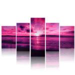 Оригинал              Пурпурное Море Закат Современный Безрамный HD Печать на Холсте Главная Искусство Стены Картина Плакат Настенные Росписи