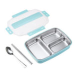 Оригинал              Обед из нержавеющей стали 1.1L Коробка Кемпинг Посуда для пикника Пищевой контейнер Герметичный обед Коробка