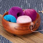 Оригинал              Натуральный мармелад деревянная пряжа чаша держатель для вязания крючком мотки украшения дома