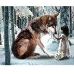 Оригинал              30 * 40 СМ DIY 5D Алмазный Волк Девушка Вышивка Картины Инструмент Вставить Стич Домой