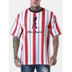 Оригинал              Мужские спортивные полосатые футболки с короткими рукавами Шея