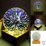 Оригинал              3D USB Волшебный База Стеклянный шар Шар Молния Лампа Ночной свет Фестиваль фейерверков