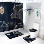 Оригинал              4 шт. Wolf Ванная комната Коврик для ванной Набор ковриков Крышка унитаза Занавеска для душа Водонепроницаемы