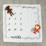 Оригинал              Новорожденный ребенок оставляет номер вехой фон одеяло фотография фон фото