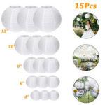 Оригинал              15Packs Белые круглые бумажные фонарики с различными размерами для Свадебное праздничных украшений