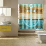 Оригинал              Водонепроницаемая деревенская морская занавеска для душа Ванная комната с 12 крючками
