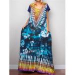 Оригинал              Урожай Этнические Летние Tie-Dye Loose Пляжный Длинные Макси Платье