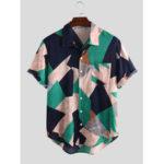 Оригинал              Мужская мода цвет блока отложным воротником летние рубашки