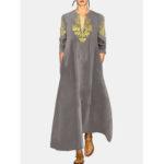 Оригинал              Хлопковое льняное с винтажным принтом и V-образным вырезом с длинным рукавом Maxi Платье