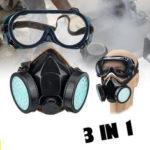 Оригинал              3 в 1 пылезащитные очки с двойными банками с лифтом Промышленные 90 Защитные защитные средства Face Маска