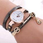 Оригинал              DUOYA Fashion Diamand PU кожаный ремешок Женское браслет часы