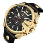 Оригинал              CURREN 8176 Модные мужские часы Creative Dial Водонепроницаемы Кожаный ремешок Кварцевые часы
