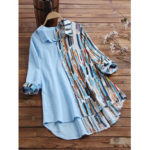 Оригинал              Полосатые рубашки Graffiti Hit Color Пэчворк с отложным воротником Повседневная блузка