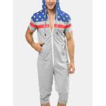 Оригинал              Мужчины американский флаг печати с капюшоном карман на молнии с коротким рукавом дома Комбинезон пижамы
