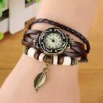 Оригинал              Модный этнический стиль Лист Шаблон PU кожаный ремешок Женское браслет часы кварцевые часы