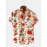 Оригинал              Рубашки мужские тонкие дышащие с цветочным принтом с коротким рукавом