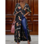 Оригинал              Блуза с этническим цветочным принтом и V-образным вырезом с длинными рукавами 3/4 для Женское