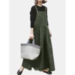 Оригинал              Женщины сплошной цвет без рукавов регулируемые ремни свободные макси Платье