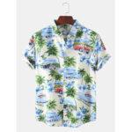 Оригинал              Mens Designer Cartoon Кокос Автомобиль Пейзаж Печати с коротким рукавом Гавайи Повседневные рубашки