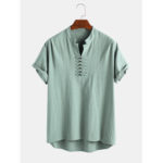 Оригинал              Мужские 100% хлопок V Шея дышащая восточная кнопка с коротким рукавом повседневные рубашки Henley
