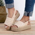 Оригинал              Женская повседневная соломенная плетеная носок на платформе для эспадрильи Сандалии