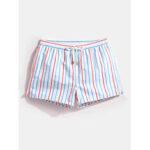Оригинал              Мужские полосатые шорты для плавания Drawstring Quick Drying Holiday Шорты для бега Lounge Shorts
