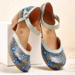 Оригинал              LOSTISY Женское Печатный круглый носок на щиколотке с ремешком на каблуке Повседневные туфли на каблуках