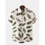 Оригинал              Мужские этнические перья с принтом листьев и повседневных рубашек с короткими рукавами