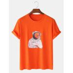 Оригинал              Мужские хлопковые футболки с принтом в стиле астронавт с коротким рукавом