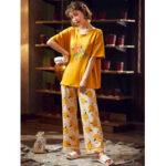 Оригинал              Женщины мультфильм фрукты оранжевые буквы печати Softies с коротким рукавом домашний пижамный набор