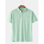 Оригинал              Mens Leisure Cotton Pure Color Кнопки Дышащие повседневные футболки с коротким рукавом