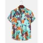 Оригинал              Мужская мода с цветочным принтом отложным воротником Hawaii Holiday Рубашки с коротким рукавом