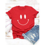 Оригинал              Женская повседневная мультяшная футболка с коротким рукавом и принтом в виде улыбки
