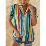Оригинал              Рубашки с коротким рукавом в горошек в полоску в стиле ретро в полоску для Женское