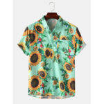 Оригинал              Мужские Женское нагрудные карманы с цветочным принтом с отложным воротником Hawaii Рубашки с коротким рукавом
