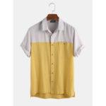 Оригинал              Мужские 100% хлопок цвет блока дышащий Newchic Уникальные Дизайн Рубашки
