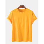 Оригинал              Мужская футболка из сплошного цвета с коротким рукавом с короткими рукавами Шея Футболки